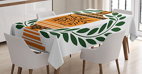 Ambesonne Toga Party Tablecloth, Old Antique Greek Vase with Olive Branch Motif and Laurel Wreath, Dining Room Kitchen Rectangular Table Cover, 52 W X 70 L Inches, Green -