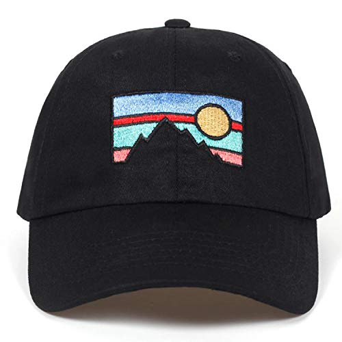 2019 New Men's Baseball Cap Dusk Sunset Embroidery Cotton hat Fashion hat Spring and Autumn Cotton Golf Cap Black