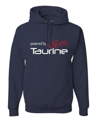 ShirtLoco Men's Powered By Taurine Hoodie Sweatshirt, Navy Blue 4XL