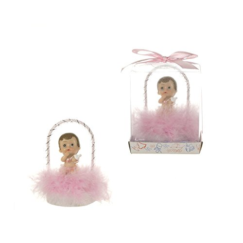 Lunaura Baby Keepsake – Set of 12 Girl Baby Under Arch with Feathers Favors – Pink