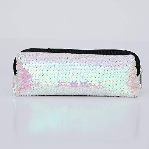 (FIged Pencil Case, Double Color Sequins Pen Bag Fashion Supplies Ladies Brush Desk Makeup Storage Travel Pouch Business)