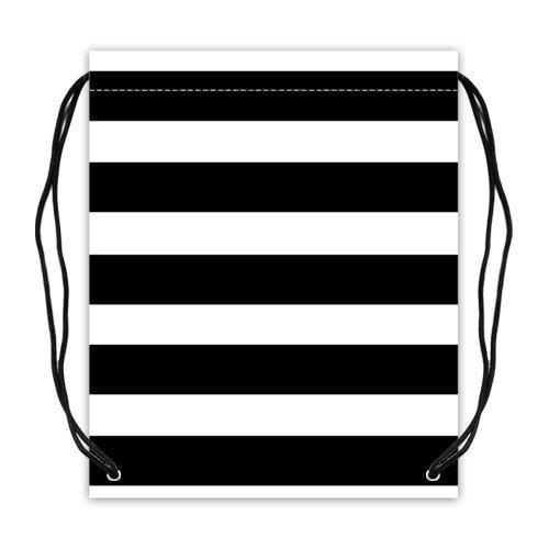 ファッションブラックとホワイトラインストライプパターンSport Ball Drawstringバックパック、バスケットボール巾着バッグバックパック – 16.5