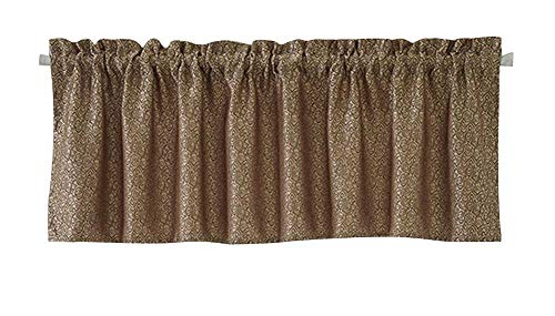Topmodehome Soft Scroll Embroidered Curtain Valance Jacquard Window Treatment for Home Kitchen Cafe Bedding Living Dinning Bath Room Door Balcony Decor (Coffee) - Jacquard Window Treatments