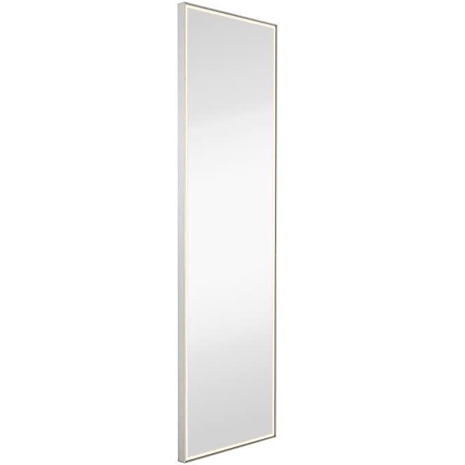 Brushed Metal Mirror with Lights | Lighted Backlit LED Wall Mirror | Contemporary Glass Illuminated Thin Frame | Full Length Hanging Vertical or Horizontal Rectangle (18 x 59)