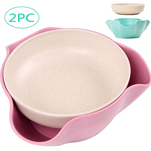 - 2 Pack Double Dish Pistachio Bowls - Snack Serving Bowls for Peanuts, Edamame, Cherries, Nuts Fruits and Candy- Wheat Straw Material, Sturdy and Durable, Degradable and Eco-friendly