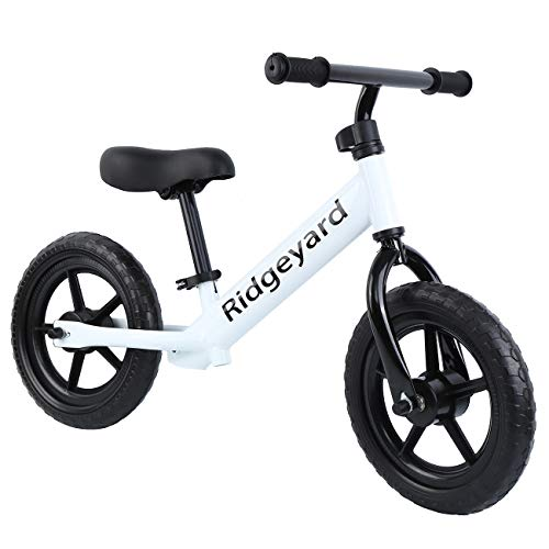 Ridgeyard 12″ Balance Bike Adjustable Frame No Pedal Walking Balancing Bicycle (Age 2-6) White