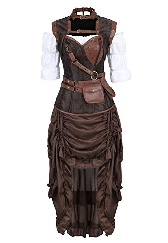 Grebrafan Halloween Corset with Skirt Blouse 3 Piece Club Outfits for Women (US(6-8) M, Brown) -