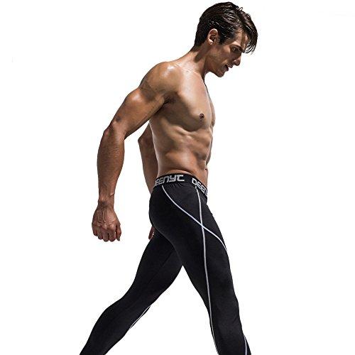 Liebeye メンズ スポーツタイツ クイックドライスポーツ ズボン 高弾性 ロングパンツ トレーニングタイツ ランニングタイツ