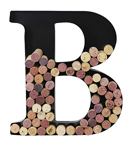 (Metal Letter Wine Cork Holder Monogram w/Free Wall Mount Kit A-Z, (B))