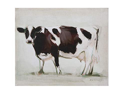 Creative Co-op Standing Cow Canvas Wall Dcor Brown