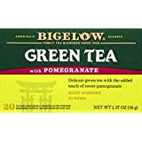 Bigelow Green Tea with Pomegranate 20 Bags (Pack of 6) Caffeinated Individual Green Tea Bags, for Hot Tea or Iced Tea, Drink Plain or Sweetened with Honey or Sugar