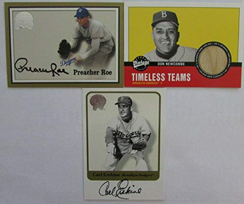 Brooklyn Dodgers Lot of 2 Autographed Cards/1 Game Used Bat Card 144769 - MLB Autographed Game Used Bats (Dodgers Brooklyn Bat)