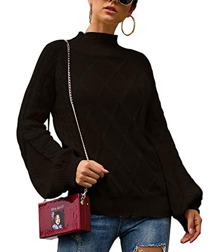 BTFBM Women Mock Turtleneck Cable Knit Long Loose Lantern Sleeve Solid Color Fashion Warm Sweater Pullover Tops (Black, Medium)