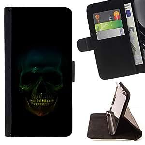 For Samsung Galaxy S6 Case , Cráneo Sonrisa- la tarjeta de Crédito Slots PU Funda de cuero Monedero caso cubierta de piel