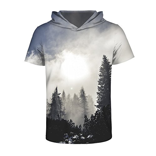 UNIFACO 3D Printed Pullover Short Sleeve T Shirt Casual Creative Graphic Hooded Shirts for Men Women by UNIFACO