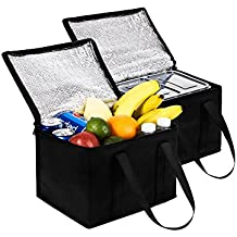 NZ Home 2 Pack Collapsible Coolers, 11L x 8H x 9W | Hot & Cold Food Delivery Tote Bags | Perfect Mens Lunch Box or Adult Lunch Bag | Ideal as a Travel, Beach, Camping Cooler or Portable Insulated Bag