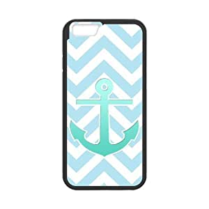 DANGDANG Blue Chevron Anchor Shell Phone for iphone6 Black Cover Phone Case [Pattern-1]