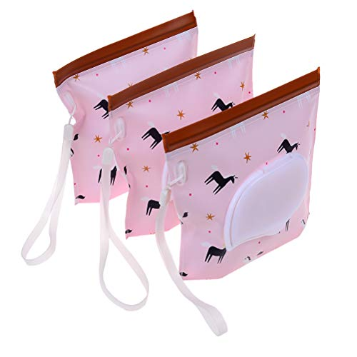 Lwestine 3 Pack Unicorn Wet Wipe Pouch, Reusable Refillable Baby Wet Wipe Pouches Portable Travel Cases - Pink Baby Wipe Case