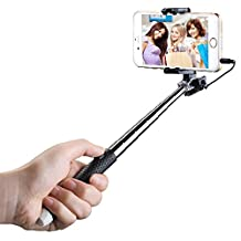 Mpow Selfie Stick, Mini Portable Foldable Extendable Monopod with 3.5mm Wire Connecting for iPhone 6s Plus 6 5s Samsung Galaxy S6 S5, etc.(Black)