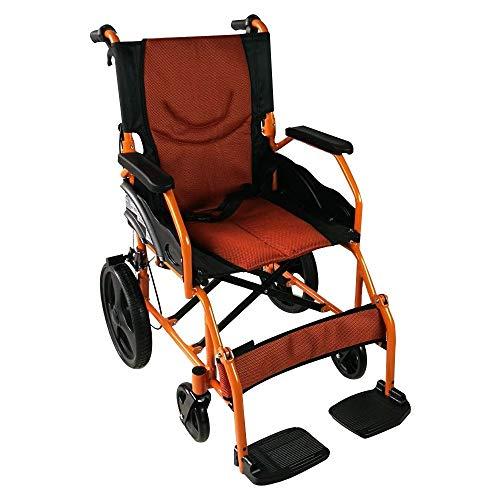 Mobiclinic, Modelo Piramide, Silla de ruedas ortopedica, asiento de 46 cm, para minuvalidos, plegable, de aluminio, freno en manetas, reposapies, reposabrazos, color naranja