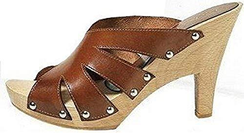 Brown Cuero Mujer Cognac Zuecos Para De Apart Pantolette Iqxw04gnvU