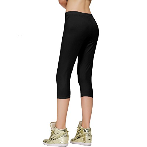 Stretch Cotton Capri Crop Leggings Tights (S, 2 Pk Black/White) by DIAMONDKIT (Image #2)