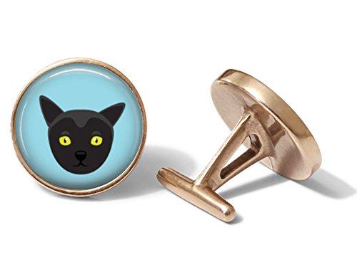 - Bombay Cat Cufflinks (Solid Bronze)