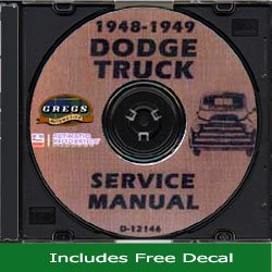 1948 1949 Dodge Truck Shop Service Repair Manual CD (With Decal)