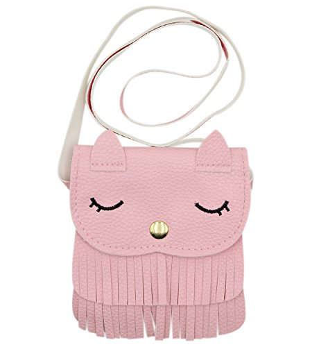 Cute Cat Tassel Shoulder Bag Small Mini Coin Purse Messenger Bag Crossbody Satchel for Kids Girls (5.15.9in) or(4.3X5.1in) (Cat Toy Gift Purse)