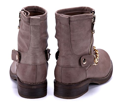 Schuhtempel24 Damen Schuhe Klassische Stiefeletten Stiefel Boots Blockabsatz Reißverschluss/Zierkette 3 cm Khaki