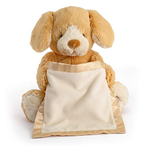 Baby Peek A-boo Bear - Spin Master Peek a Boo Puppy Animated Stuffed Animal Plush, Tan, 10