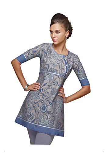 Jayayamala Femmes Plus Size Robe Tunique, en vrac, Motif Vintage brodée, Robe en coton, Boho Robe grise
