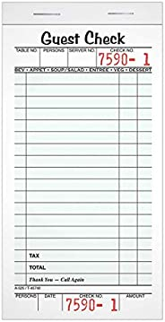 """Adams Guest Check Pads, Single Part, Perforated, White, 3-2/5"""" x 6-1/4"""", 50"""