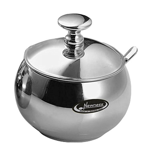 Newness Stainless Steel Sugar Bowl with Lid and Sugar Spoon for Home, Drum Shape, 9.0 Ounces(270 (Ceramic Sugar Dish)