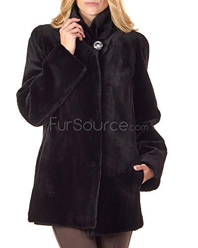 Ladies Sheared Mink Reversible Jacket in Black - X-Large