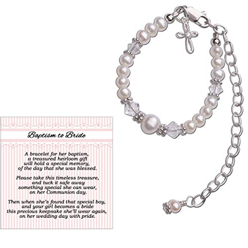 (Baptism to Bride Cross Bracelet for Girls in Sterling Silver and Cultured Pearl)