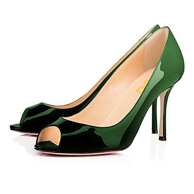 FSJ Women Flattering Peep Toe Formal Dress Shoes Glossy Patent High Heels Pumps Size 4-15 US