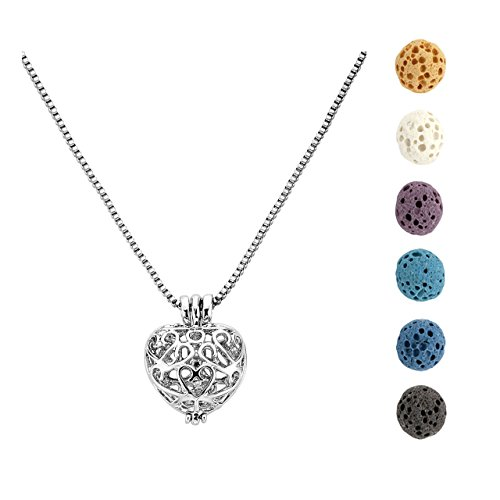 - Jovivi Aromatherapy Essential Oil Diffuser Necklace Peach Heart Locket Pendant with 6 Dyed Lava Stone Beads