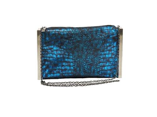 Hearty Trendy Metallic Alligator Print with Metal Frame Clutch Bag -BLUE