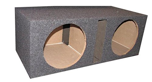 Q Power BASS12V Overboxed MDF Wood Carpeted Dual 12-Inch Vented Unloaded Box