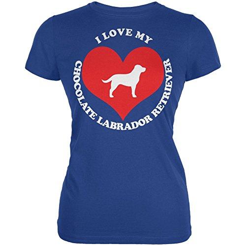 Valentines I Love My Chocolate Lab Royal Juniors Soft T-Shirt - X-Large
