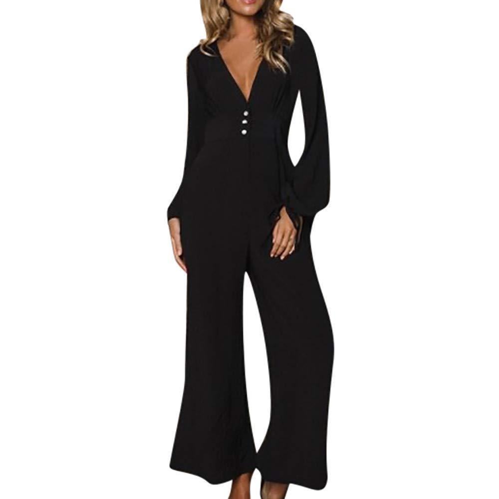 GWshop Ladies Fashion Elegant Jumpsuit Women Jumpsuits Elegant Long Sleeve,Casual Wide Leg High Waist Loose Office Pants Black S