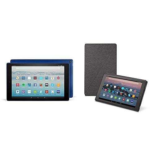 Fire HD 10 Tablet (64 GB, Marine Blue, With Special Offers) + Amazon Standing Case (Charcoal Black)