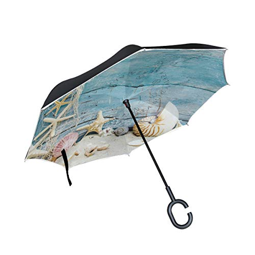 - Inverted Umbrella Seashells On The Beach Reverse Umbrella UV Protection Windproof for Car Rain Sun Outdoor Black