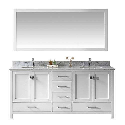 Virtu USA Caroline Avenue 72 inch Double Sink Bathroom Vanity Set in White w/Square Undermount Sink, Italian Carrara White Marble Countertop, No Faucet, 1 Mirror - GD-50072-WMSQ-WH