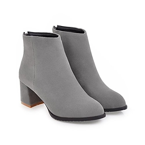BalaMasa Womens Low-Heel Zipper Solid Pointed-Toe Chunky Heels Suede Boots ABL09649 Gray