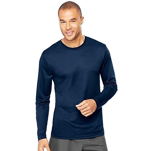Hanes Cool DRI'Performance mens Long-Sleeve T-Shirt,Navy,Large