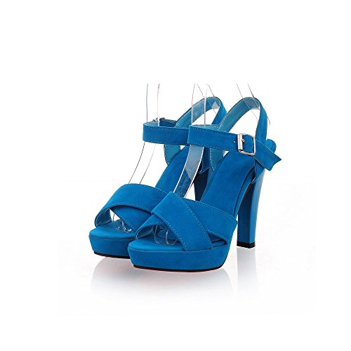 Summer Sexy Leather Heels PU Shoes Flatform Lucksender Fashion Blue Open Toe Ladies High qOHwdEd