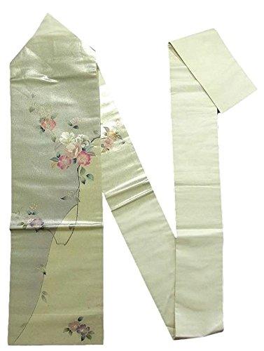 表面パン屋争うリサイクル 名古屋帯 椿の花模様 刺繍 銀地