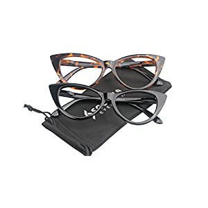 SOOLALA Ladies 61mm Lens Designer Cat Eye Reading Glasses Customized Strengths (2 Pairs / Black + Leopard, 1.5)